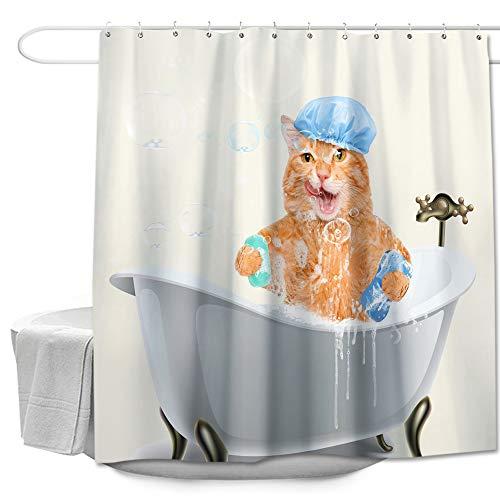 "Colorful Star Decorative Shower Curtain with Hooks Polyester Fabric Machine Washable Waterproof Cartoon Bath Curtain Sets Modern Bathroom Decor 72""x78"" - Bathing Cat"