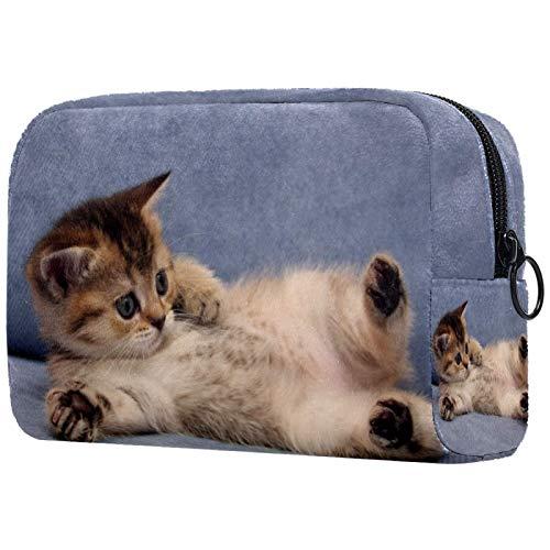 Estuche de cosméticos para sofá de gatito de gran capacidad, resistente al agua, bolsa de cosméticos, organizador de viaje para accesorios, 18,5 x 7,6 x 13 cm
