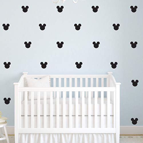 176pcs Cartoon Mickey Mouse Head Art Wall Decals for Kids Room Boy Bedroom Vinyl Wall Decor Nursery Kids Wall Stickers (Black)