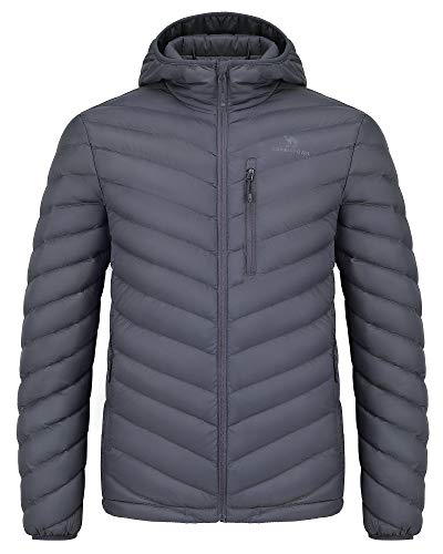 CAMEL CROWN Daunenjacke Herren Steppjacke Leichte Übergangsjacke Outdoorjacke Warm Jacke mit Kapuze