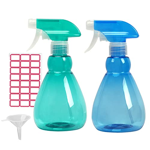 Cymax Large Size Empty Spray Bottle,2 Pack 500ML Refillable Sprayer Leak Proof Durable Trigger Sprayer with Mist& Stream Modes for Cleaning,Green+Blue