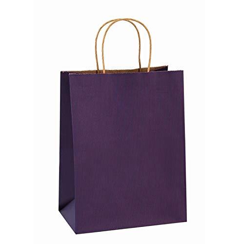 BagDream Gift Bags 8x4.25x10.5 Inches 100Pcs Paper Bags with Handles Bulk, Shopping Bags Kraft Bags Retail Bags Craft Bags 100% Recyclable Paper Gift Bags Purple