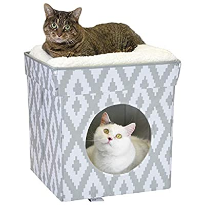 Kitty City Large Cat Bed, Stackable Cat Cube, Indoor Cat House/Cat Condo, Cat Scratcher, Cushion from SportPet Designs.