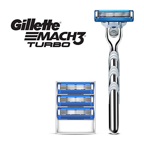 Gillette Mach3 Turbo Men's Razor Handle + 4 Blade Refills