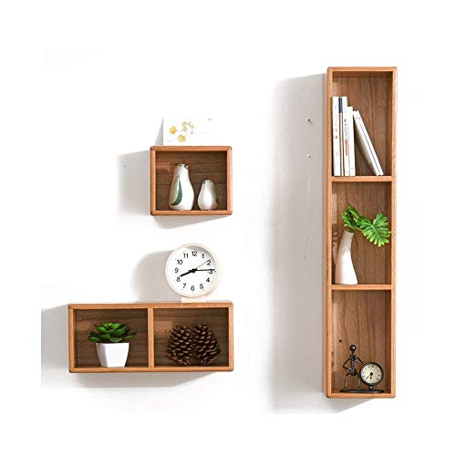 Simple Style Wall Mounted Drijvende Boekenkasten Planken plat scherm, 3 Set Rekken for de woonkamer 410 (Color : Wood color)