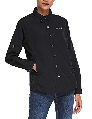 BALEAF Women's Fishing Shirts UPF 50 Quick Dry Zip Pockets Long Sleeve Camping Hiking Travelling Black M