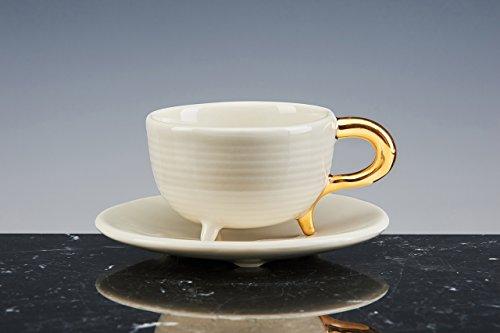 OSKAR rituel Mug à thé et à café Porcelaine émaillée blanche avec Queue en or 18 carati. Lot de 2 tasses avec PIATTO. fait à la main tasses design !
