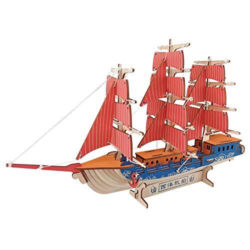 KTYRONE 3D Rompecabezas De Madera DIY Velero Juguetes Ensamblaje Kits De Modelos Decoración De Escritorio Regalo De Festival (Velero Europeo)