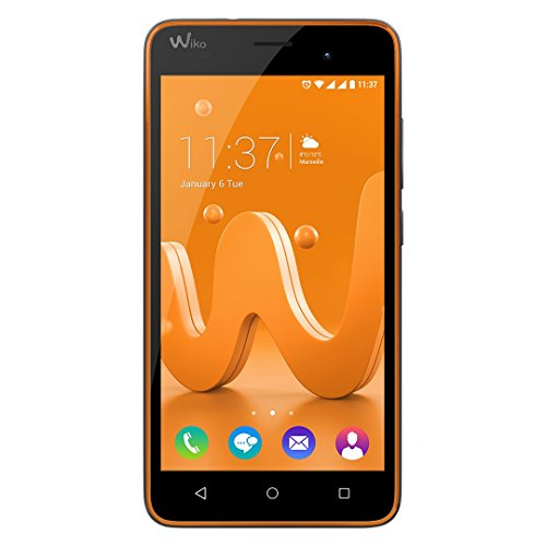 Wiko Jerry Smartphone (12,7 cm (5 Zoll) Display, 16 GB interner Speicher und 1 GB RAM, Android 6 Marshmallow) orange-grau