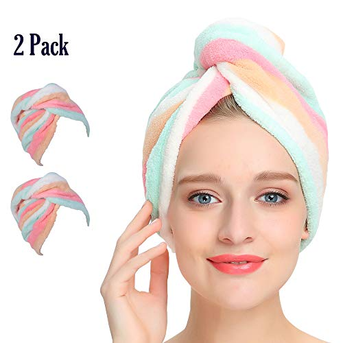 AuroTrends Microfiber Hair Towel Wrap 2 Pack,Quick Dry Hair Drying Towel Super Absorbent Hair Wrap...