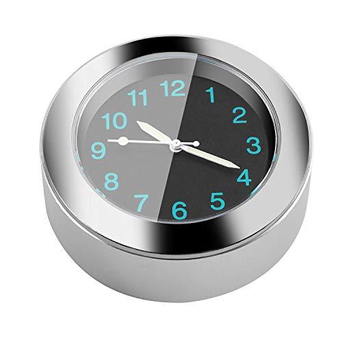 Gaoominy Popular Accesorio de la Motocicleta,Manillar Montar Reloj de Tiempo (Plata)