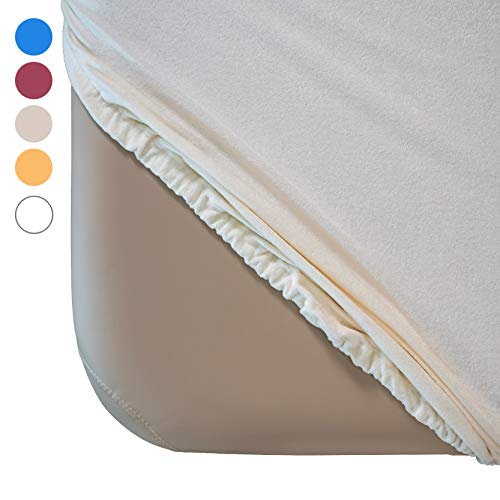 Zen Frottee Spannbezug für Massage-Liegen | passend für 71-81 cm x 185-195 cm | extra weich | waschbar 60° | OEKO TEX 100 | für alle gängigen Kosmetik-Tische und Therapie-Bänke (Créme)