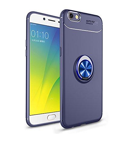 Jardire Kompatibel Oppo F3 Plus Hülle Blau, hergeben (2 Stück) 3D HD Panzerglas Schutzfolie, ständer für Handy Smartphone, Ultraleichte TPU-Autohalterung mit unsichtbarem Magnetring