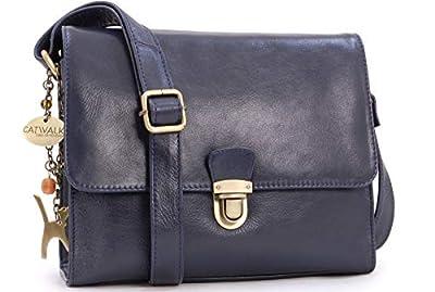 Catwalk Collection Handbags - Vintage Cuir Véritable - Sac Bandoulière/Besace/Messenger/Sac à Main/Sac Porté Croisé - Compatible avec iPad/Tablettes/Kindle - Femme - DIANA - Bleu