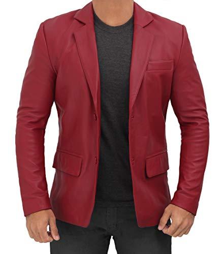 Blingsoul Sport Coats and Blazers for Men - Mens Maroon Leather Jacket | [1507091] Blazer Maroon, XS