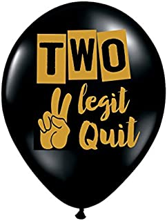 Two Legit To Quit Balloons - Set of 3 - Black and Gold 2nd Birthday Balloons, 2nd Birthday Decorations - 2nd Birthday - Two Legit To Quit Party Decorations, To Legit to Quit, Too Legit to Quit