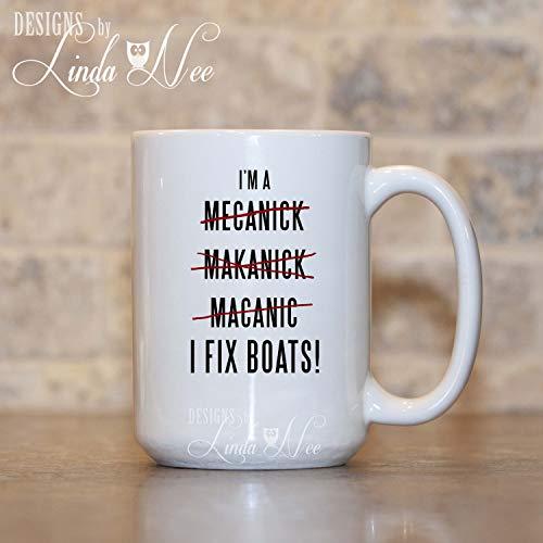 Sp567encer Bootsmechanicer Koffiemok cadeau voor bootsmechanici scheepsmechanici diesel repareren boten beker grappige monteur geschenk grappige rechtschrijvende beker MSA184