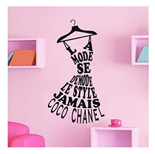 Wandtattoo Der Mode von Coco Chanel Schwarz