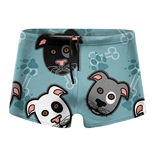 Mens Boxer Swimwear, Dog Head Basic Cozy Brief Swimsuit, Comfortable Printed Beach Surf Swimming Trunks Size XXL