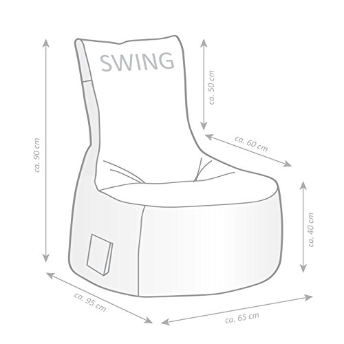 Magma Heimtex Sitting Point Sitzsack-Set Scuba Swing + Hocker | Schwarz | 90 x 95 x 65 cm
