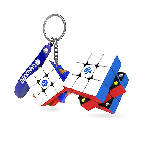 GAN 356 M, 3x3 Magnetic Speed Cube Stickerless with GAN 330 Speed Cube Key Chain