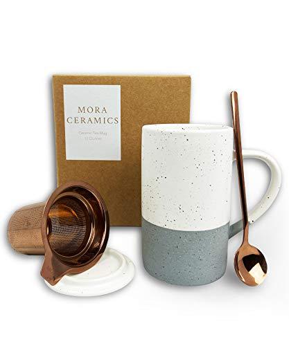 Mora Ceramics Tea Cup with Loose Leaf Infuser, Spoon and Lid, 12 oz, Microwave and Dishwasher Safe Coffee Mug - Rustic Matte Ceramic Glaze, Modern Herbal Tea Strainer - Great Gift for Women, Flint