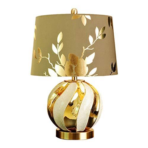 jbshop Lámpara de Cabecera Lámpara de Mesa de cerámica Dorada, Moderna, 18