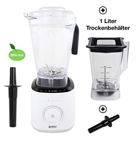 KeMar Kitchenware KSB-300W Standmixer | Hochleistungsmixer | Mixer | Touch Bedienung | 2 Liter Behälter| BPA-frei |6 Programme (Milch Weiß) | Inklusive 1 Liter Trockenbehälter
