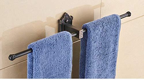 APAN European Style Retro Double Towel Rack Towel Rail Wall Mounted Open-Arm Design Single Bar Towel Holder for Kitchen,Bathroom,Toilet,Black patina,B