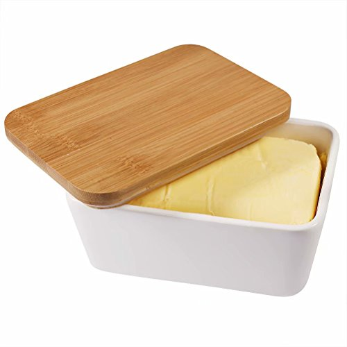 77L Butter Dish - Ceramic Butter Dishes Perfect for 2 Sticks of Butter, Multi - purpose Butter Container with Wooden Lid for Kitchen, Large Butter Holder (White)