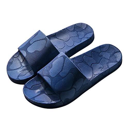 Zapatillas de Estar por Casa, Zapatillas Antideslizantes Para Hombres Y Mujeres, Uso En Interiores, Uso Al Aire Libre, Sandalia De Ducha, Suela Suave, Zapatos De Pisci(Color:Azul oscuro,Size:44-45EUR)