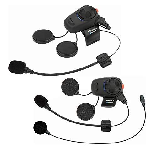 SMH5 Bluetooth-Kommunikationssystem für Motorräder und Roller mit Kabel- und Schwanenhalsmikrofon Doppelpack