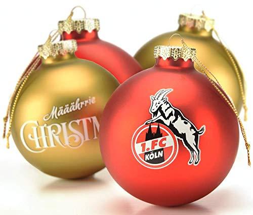 1. FC Köln Christbaumkugeln/Weihnachtskugeln ** Gold/Rot ** 4080357