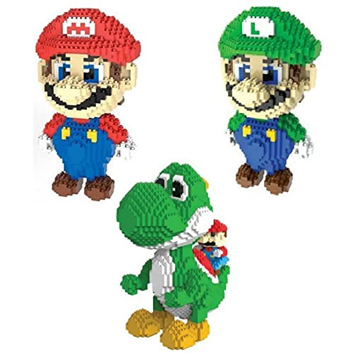 RSVT Divertido Juego Figura Super Mari Bros Micro Diamond Block Yoshi Dinosaurio Edificio Brick Nanobrick Educational Juguete para Niños Adulto,3pack
