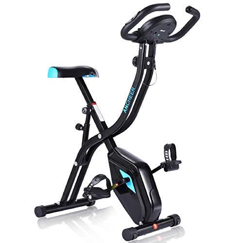 Profun Bicicleta Estática Plegable de Fitness con Respaldo Xbike con App Pantalla LCD 10-Niveles Ajustable para Ejercicio Entrenamiento en Casa (Tipo 2 Negro sin Respaldo)