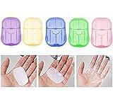 Jabón de papel desechable portátil, mini hoja de papel espumoso en rodajas con caja de almacenamiento, lavado al aire libre, suministros de lavado a mano para baño。