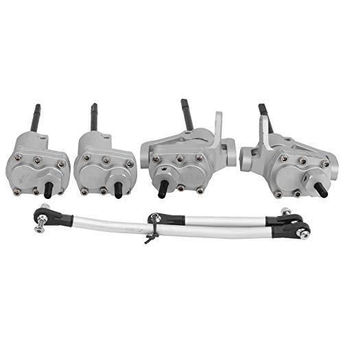 SALUTUYA Engranajes de Estructura de Acero endurecido Durable RC Eje Delantero de Portal Trasero Eje de transmisión Apto para Axial Scx10 II 90046 90047 RC(Silver)