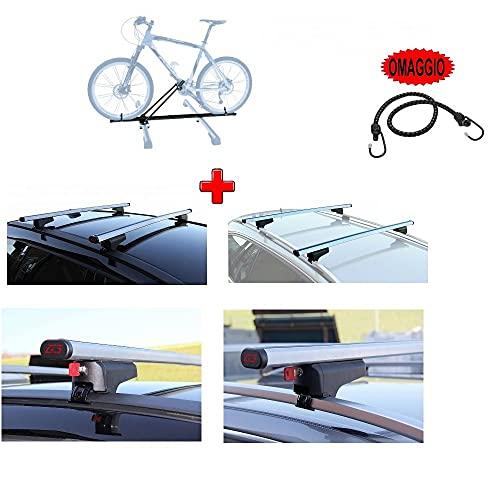Compatible con Ford Focus III SW 5p 2015 Barras DE Aluminio para Techo DE Coche 130CM + Porta Techo para 1 Bicicleta DE Alta Y Baja REALIZACIÓN