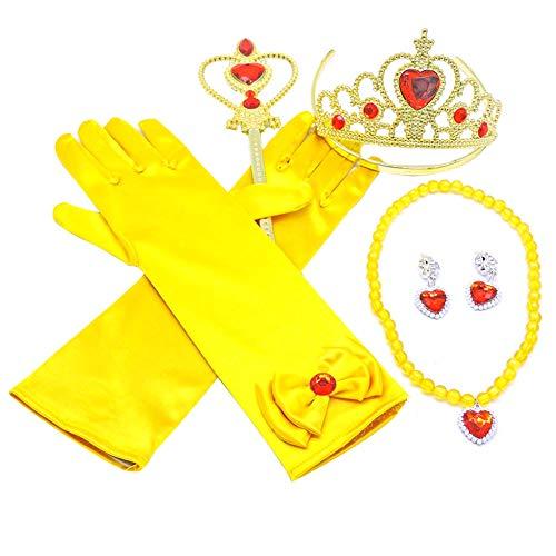 song rong Prinzessin Pretend Schmuck Spielzeug Schmuck Dress Up Play-Set Mit Kronen Wands Ohrringe Armbänder Handschuhe Für Geburtstags-Party Cosplay Halloween Outfit Zubehör Yellow 1set