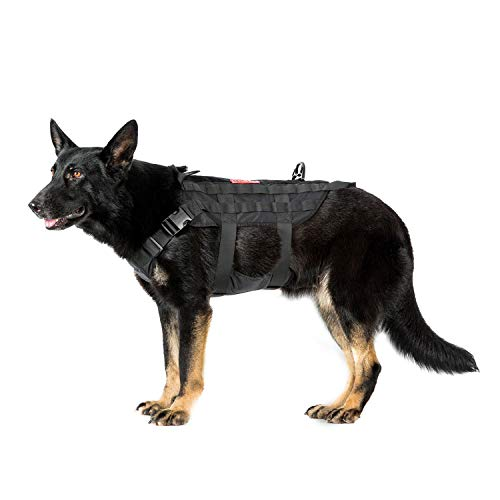 OneTigris Milltary Dog Vest Tactical Dog Harness, K9 Harness for Large Dogs with MOLLE and Grab Handles Water-Resistant Heavy Duty Vest (Black, Large)
