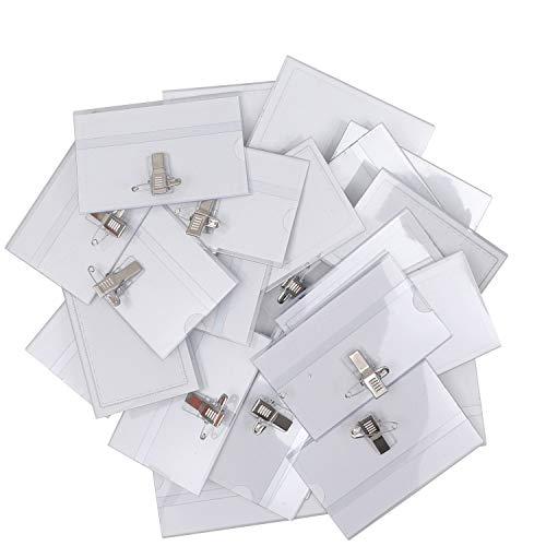 Porta Tarjetas Identificativas Transparente (Pack de 100) - 9cm x 5,7cm Tarjeta de Identificación Horizontal - Portanombres con Pin Imperdible y Pinza Cocodrilo para Escuela, Oficina, Universidad