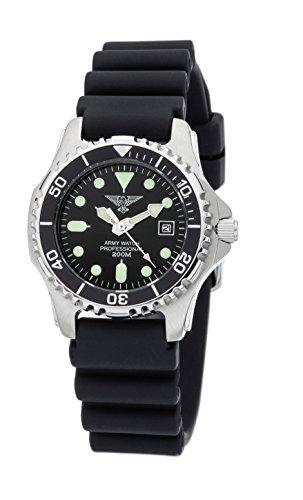 Army Watch Sport by Eichmüller - Reloj de Buceo con correa de PU 20 atm (200 m resistente al agua) EP880