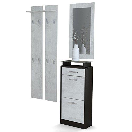 Garderobenset Garderobe Loret V2 Mini, Korpus in Schwarz matt/Front in Beton Oxid Optik