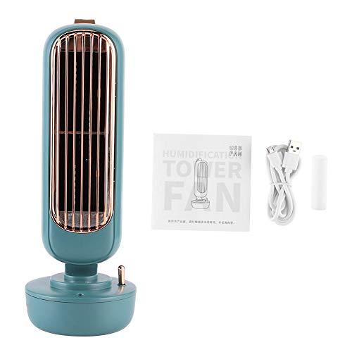 220 ml Mini portátil Vintage en forma de torre Humidificación Ventilador de mesa silencioso Ventiladores de pulverización USB con 60 guía de viento para el hogar de la oficina 109x293 mm(verde)