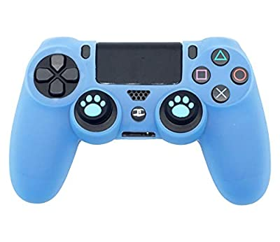 PS4 Controller Skin, BRHE DualShock 4 Grip Anti-Slip Silicone Cover Protector Case for Sony Playstation 4/PS4 Slim/PS4 Pro Wireless/Wired Gamepad Controller with 2 Cat Paw Thumb Grip Caps