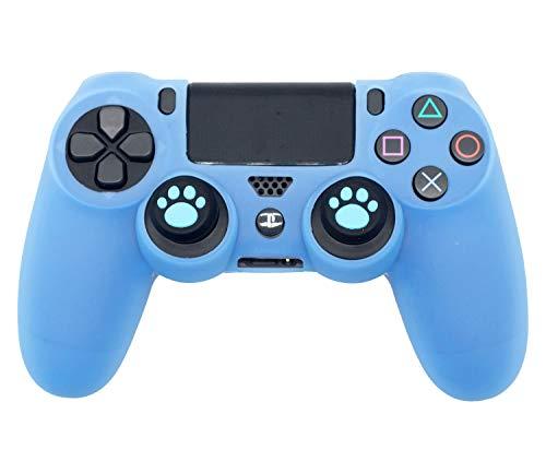 BRHE - Funda protectora de silicona para mando de PS4 Slim/PS4 Pro inalámbrica/con cable con 2 tapas de agarre para pulgar de pata de...
