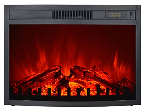 "3G Plus Electric Fireplace Insert Heater Carbon Log Fuel Effect Adjustable Flame Brightness w/Remote 26""-Black"