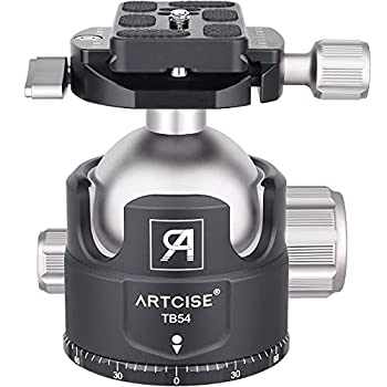 54MM Low Profile Ball Head Tripod Ball Head ARTCISE TB54 Heavy Duty Tripod Head All Metal CNC Machining with Two 1/4  Quick Release Plates for Tripod Monopod DSLR Camcorder Max Load 70lbs /35kg