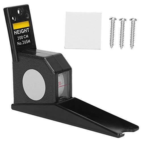 Medidor de estatura de metal, regla de cinta métrica retráctil, herramienta de medición de metal ABS de 2 metros de altura para que su familia mida la estatura en casa(Negro)