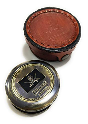 Brass Compass Pirates of Caribbean Jack Sparrow 2 Inch Pocket Antique Gift W/Embossed Beautiful Leather Case